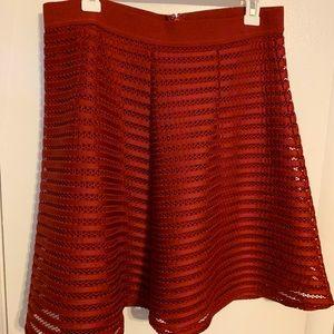 Red H&M lace mesh skater skirt